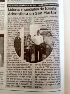 Medios de Comunición destacaron acción de Jóvenes Adventistas.