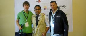 Stephan, voluntario alemán a la izquierda, en seminario de capacitación para voluntarios en Guayaquil.
