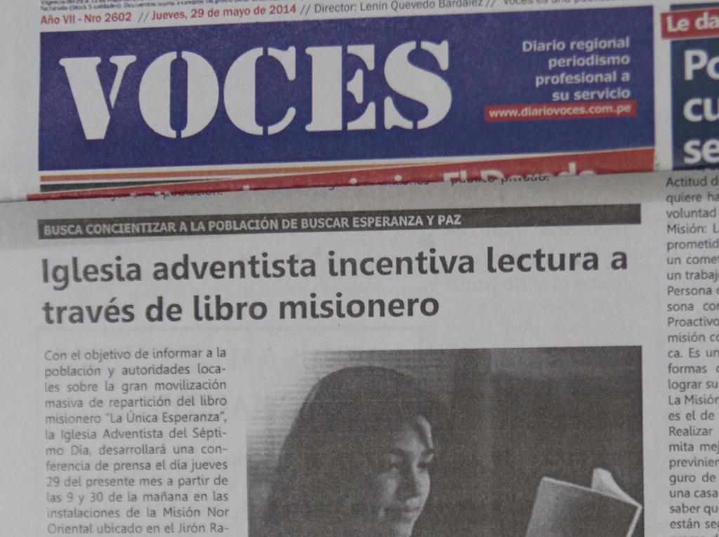 Prensa de la región San Martín destaca campaña de lectura de la iglesia adventista