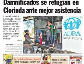 Portada de diario importante de Paraguay destacando en foto de portada la lavandería móvil de ADRA Argentina.