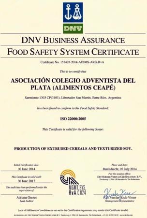 Ceapé recibe certificado norma ISSO