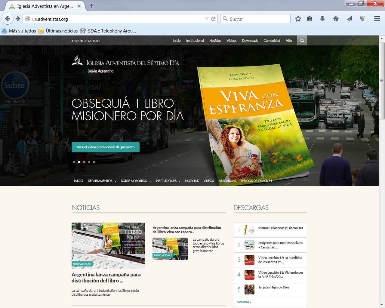 Iglesia Adventista en Argentina lanza nueva página Web