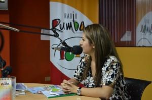 Jeannett Navas vocera delegada de la campaña, en radio Rumba