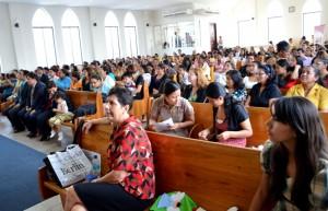 Mujeres reunidas al sur de Ecuador. El propósito fue capacitarlas en el Ministerio de Recepción.
