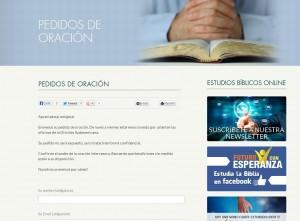 Espacio del portal adventista, para pedidos de oración. http://adventistas.org/es/oracion/