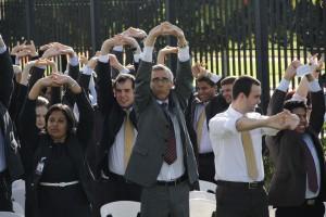 Pastor Bomfim (em destaque) comandó el culto especial en Brasília, Brasil.