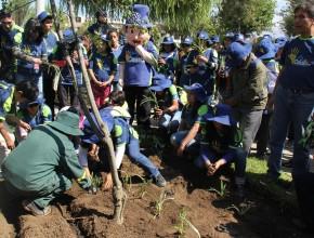 """Jóvenes vivieron el séptimo día de Misión Caleb reforestando los parques """"Túpac Amaru"""" y """"Los Eucaliptos""""."""