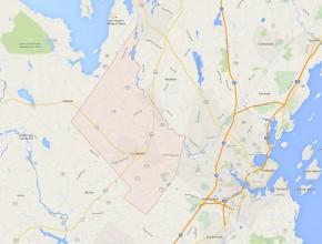 Antes de mudarse a Portland, la familia de Ellen Harmon vivía en una granja en Gorham, en el Estado de Maine. Haga clic para ampliar (Imagen: Google Maps).